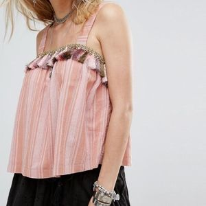 Honey Punch Pink Cami Woven Stripe Tassel Trim Top